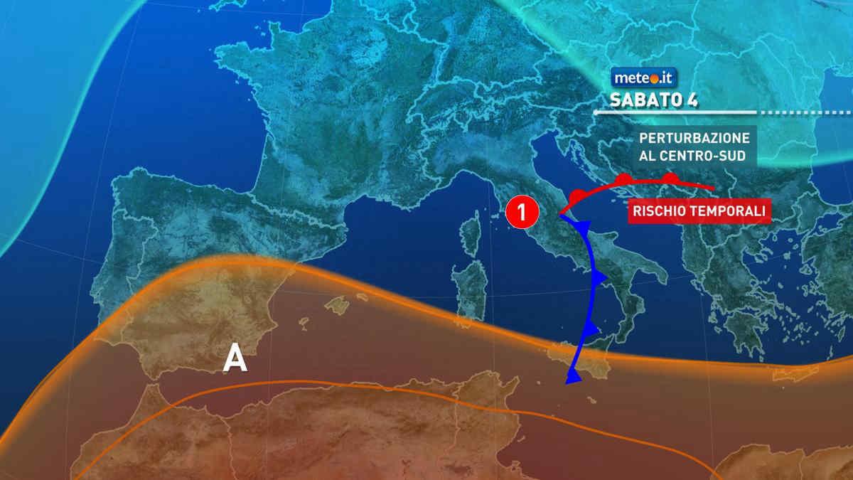 Meteo, sabato 4 settembre fase molto instabile al Centro-sud