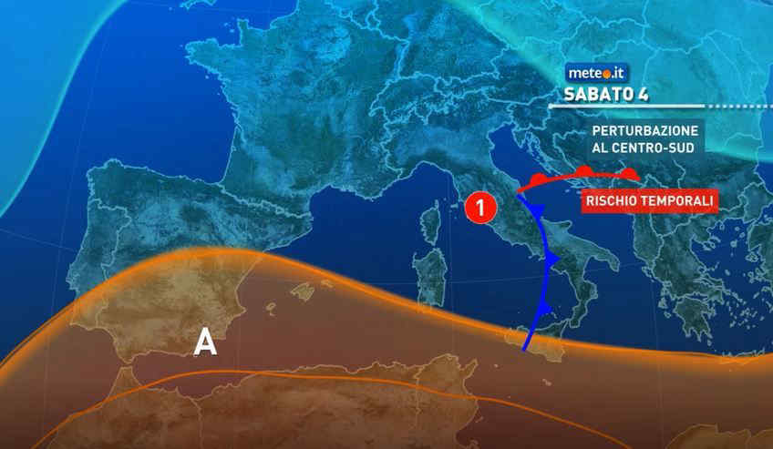 Meteo, sabato 4 fase di maltempo al Centro-Sud