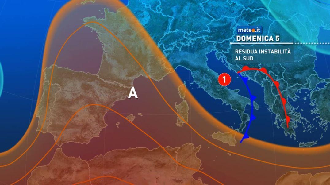 Meteo, domenica 5 residua instabilità al Sud e sulle Alpi