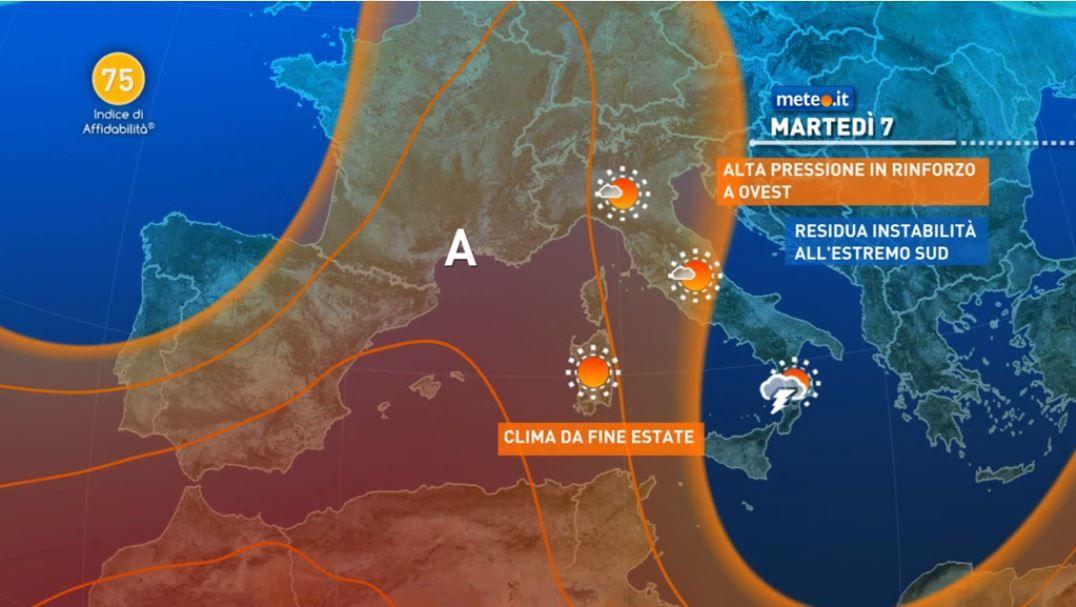 Meteo, residua instabilità fino a mercoledì 8 al Sud e in Sicilia