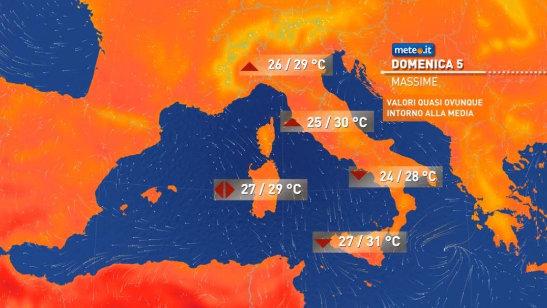 Meteo, rischio di locali temporali domenica 5 al Sud, in Sicilia e sulle Alpi