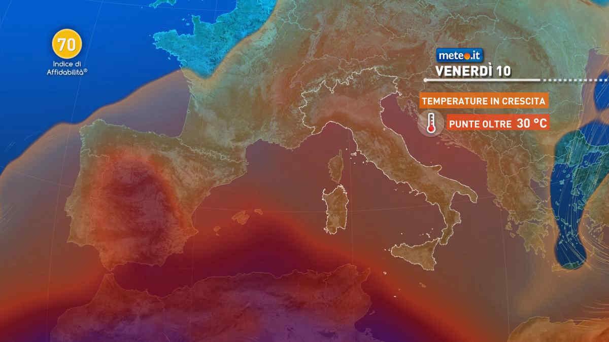 Meteo, tra il 9 e il 10 settembre temperature in aumento: oltre 30 gradi