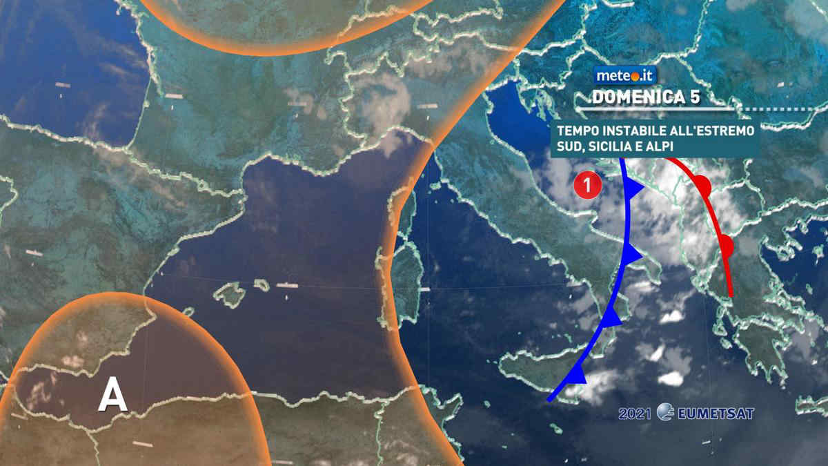Meteo, 5 settembre con rischio temporali al Sud e sulle Alpi
