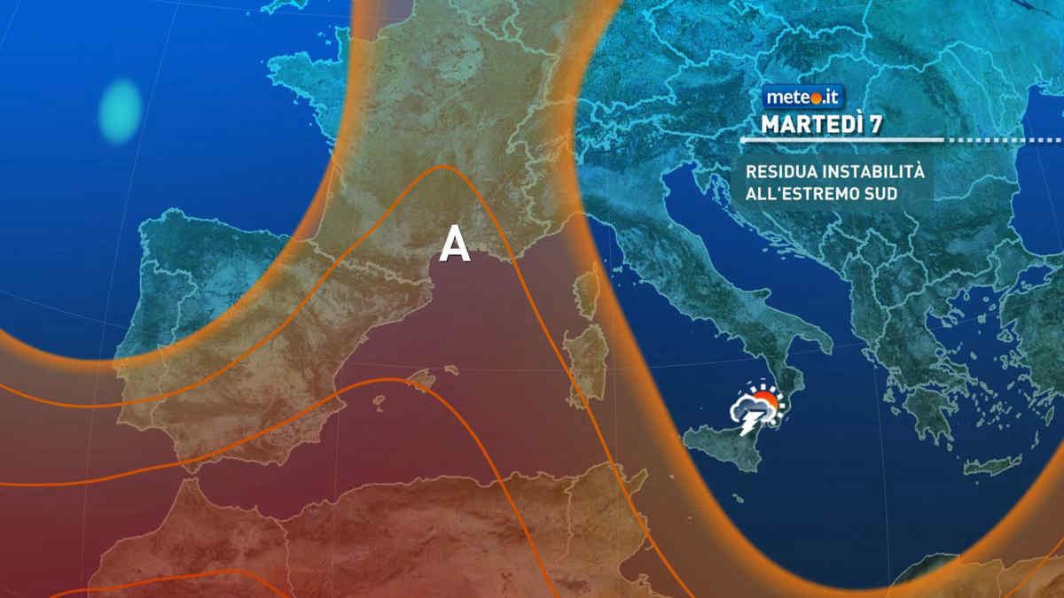 Meteo, martedì 7 residua instabilità al Sud e in Sicilia