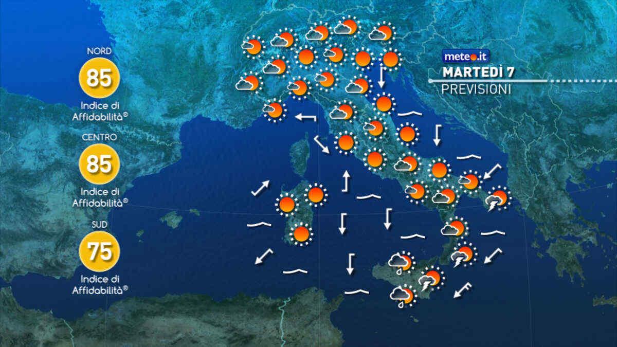 Il meteo di oggi, martedì 7 settembre