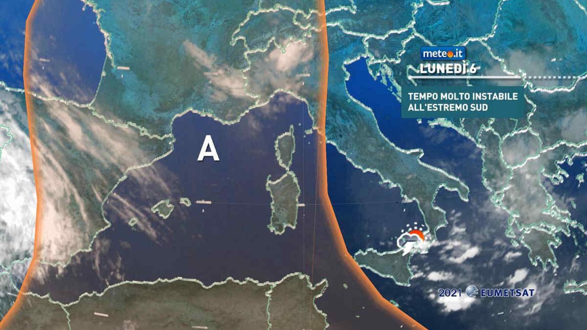 Meteo, lunedì 6 temporali anche forti al Sud e in Sicilia