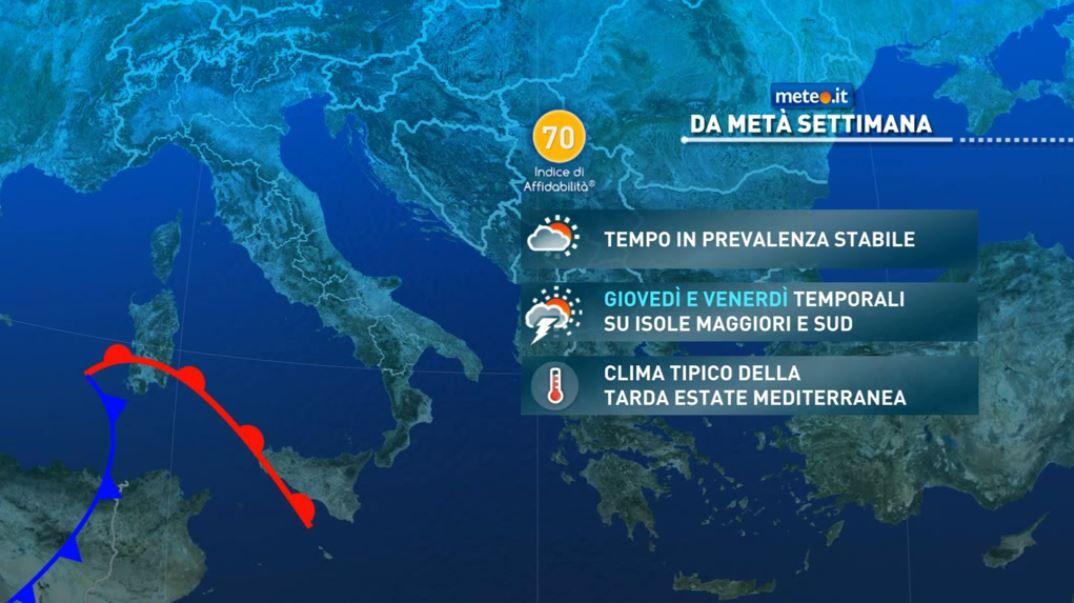 Meteo, tra venerdì 10 e sabato 11 perturbazione in arrivo sulle Isole e su parte del Sud