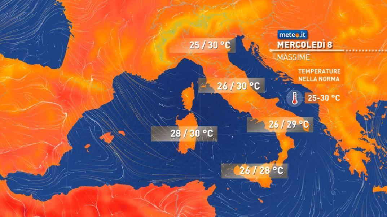 Meteo, mercoledì 8 tempo a tratti instabile al Centro-Sud e sulle Isole
