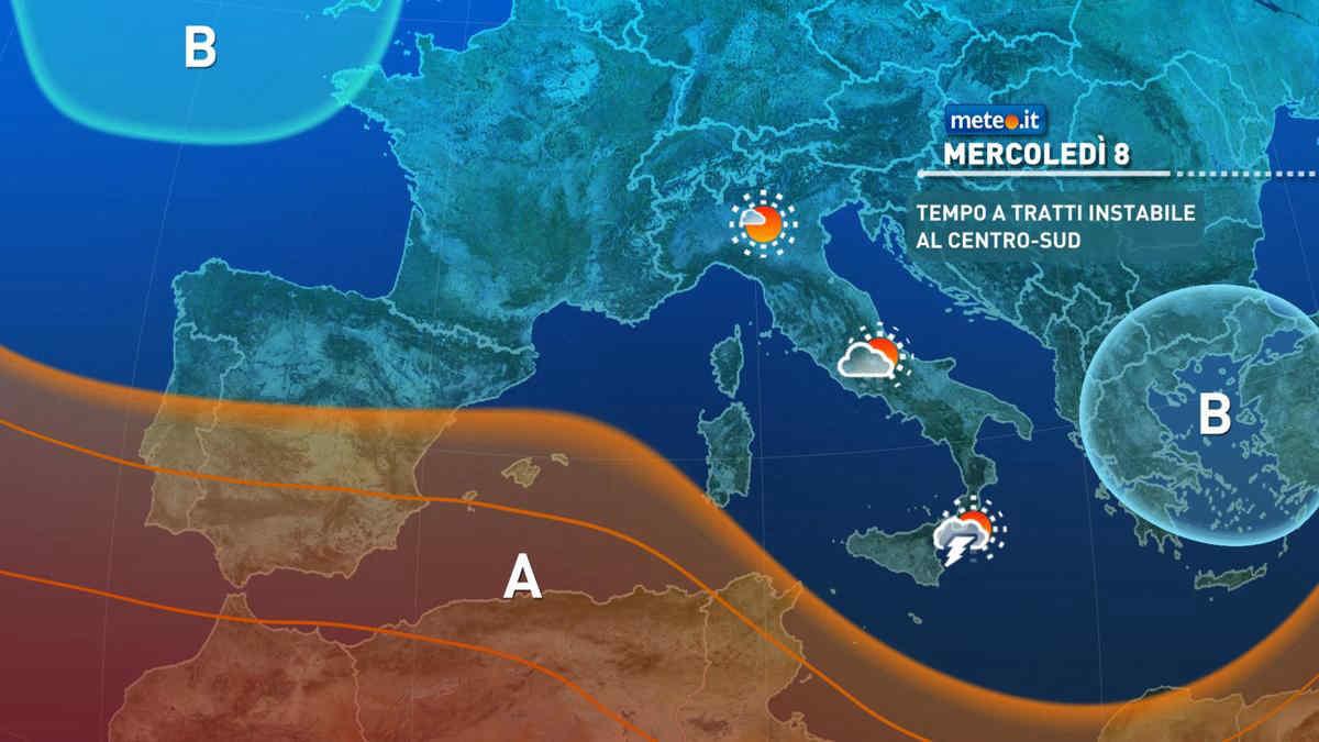 Meteo, mercoledì 8 tempo a tratti instabile sulle Isole, al Sud e sui settori interni del Centro