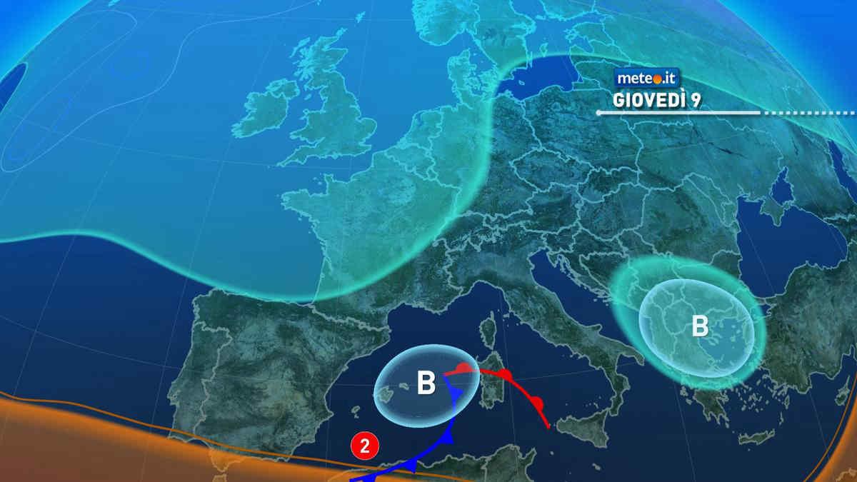 Meteo, giovedì 9 settembre perturbazione in avvicinamento al Sud e Isole
