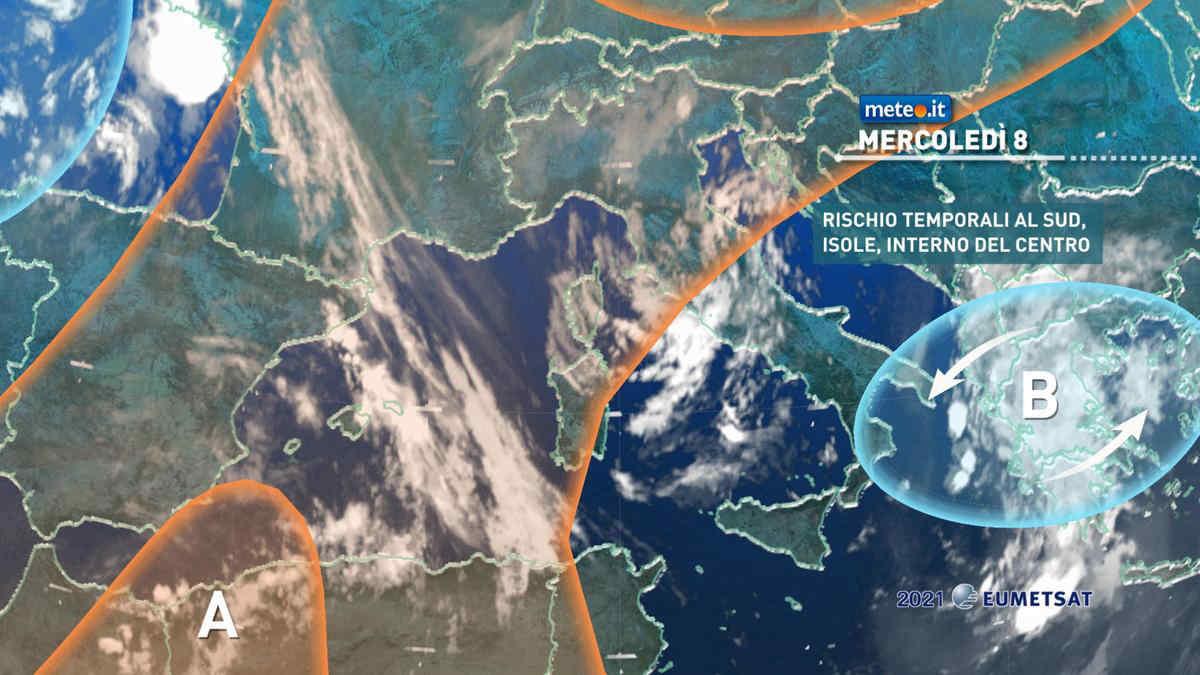 Meteo, 8 settembre con rischio temporali al Sud, Appennino e Isole