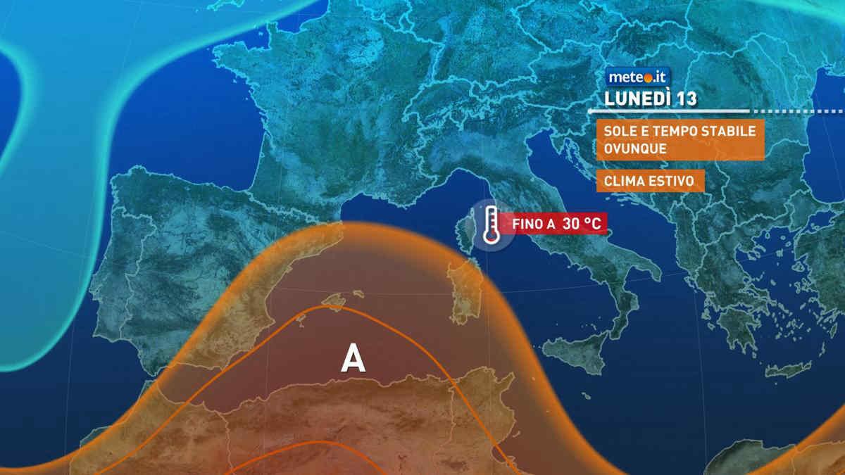 Meteo, 13 settembre con tempo in miglioramento al Sud e caldo estivo
