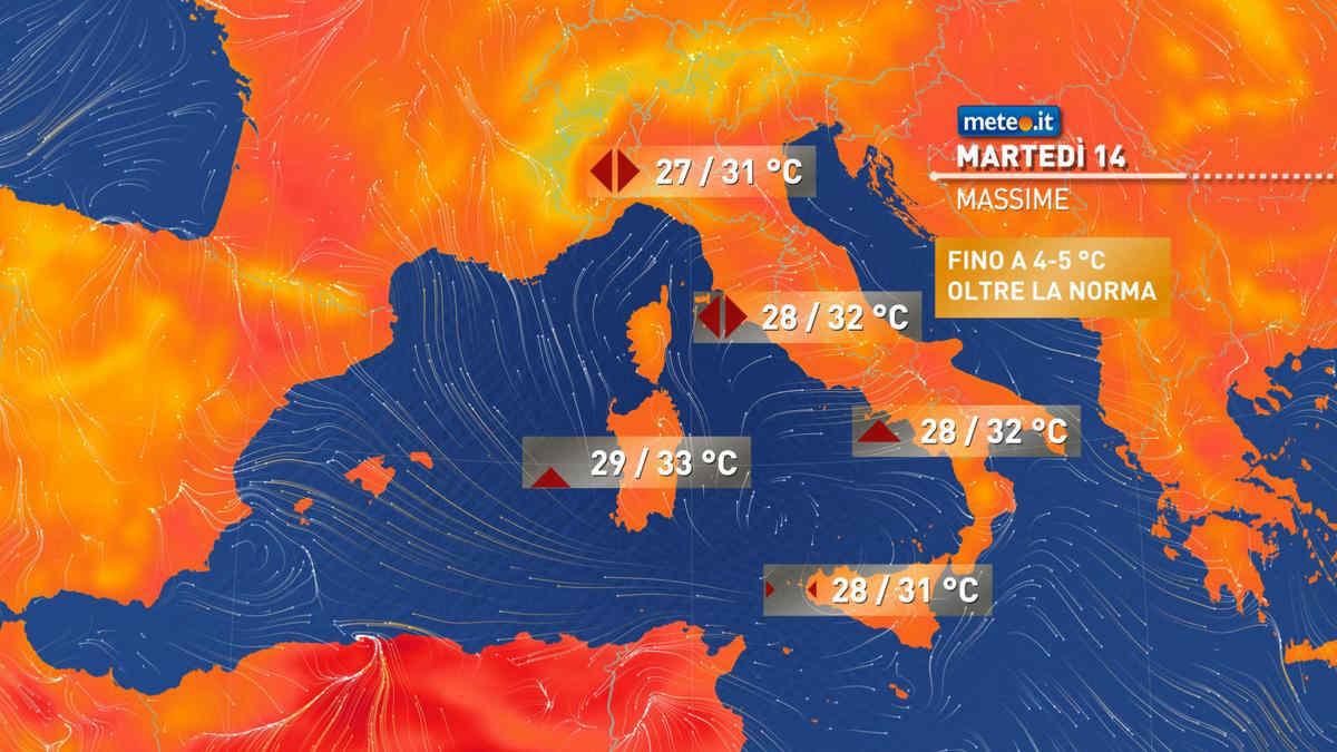 Meteo, oggi martedì 14 settembre, sole e temperature oltre la norma
