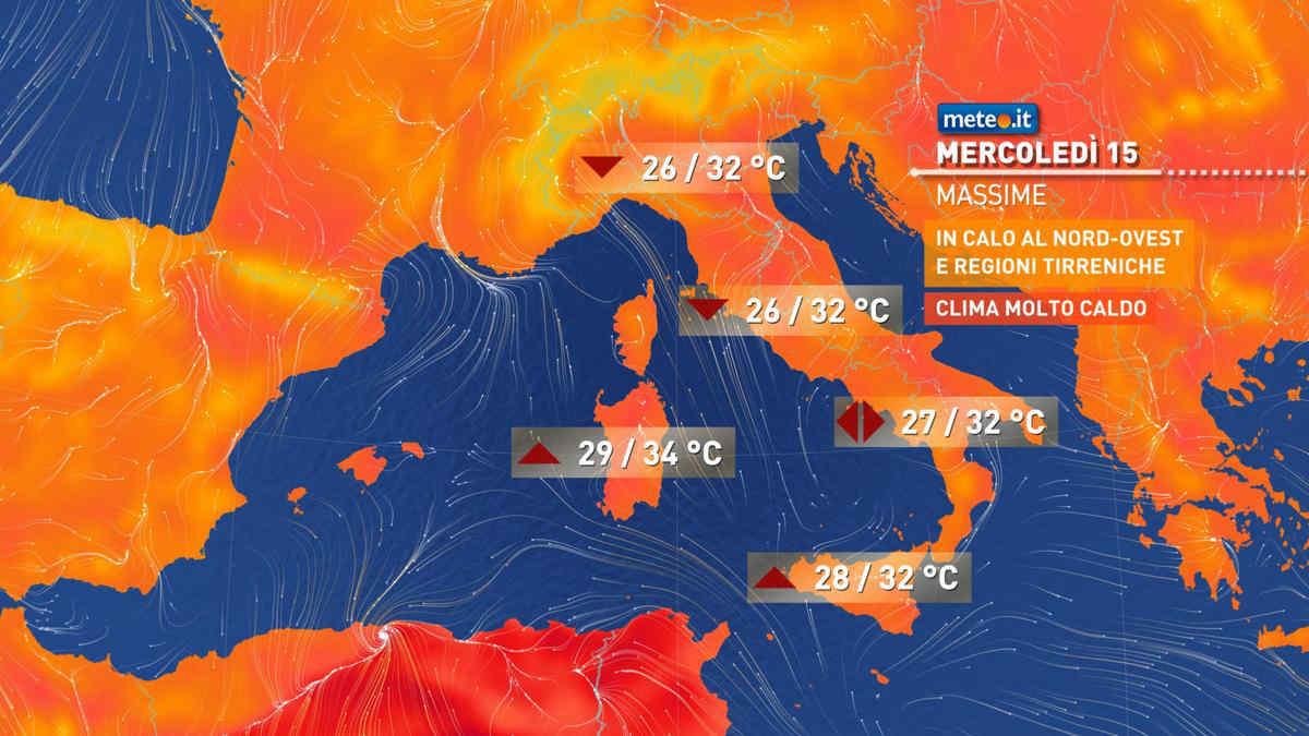 Meteo, mercoledì 15 Italia tra caldo intenso e temporali