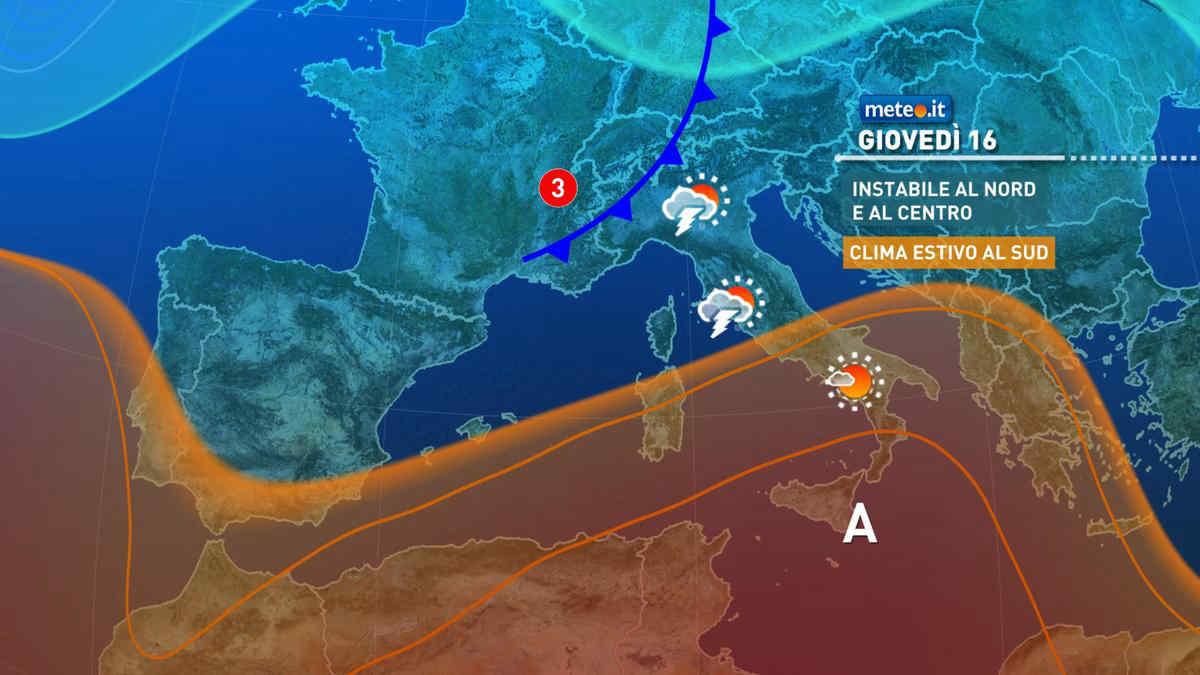 Meteo, 16 settembre a rischio pioggia per parte del Centro-Nord