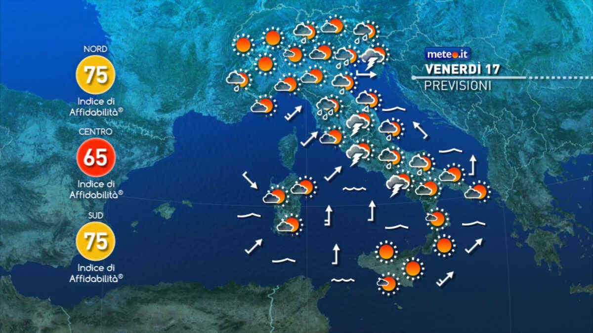Meteo, venerdì 17 settembre ancora maltempo al Nord-Est e al Centro