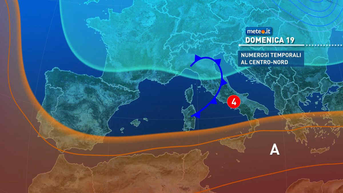 Meteo, domenica 19 rischio di forti temporali al Centro-Nord