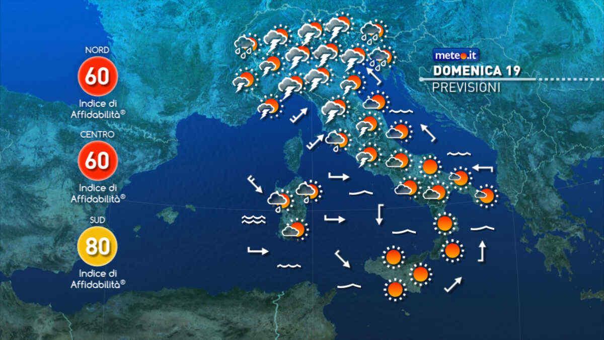 Meteo, domenica 19 di maltempo al Centro-Nord con rischio di forti temporali