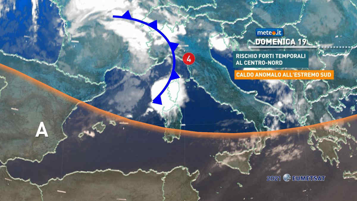 Meteo, domenica 19 con rischio di forti temporali e nubifragi al Centro-Nord