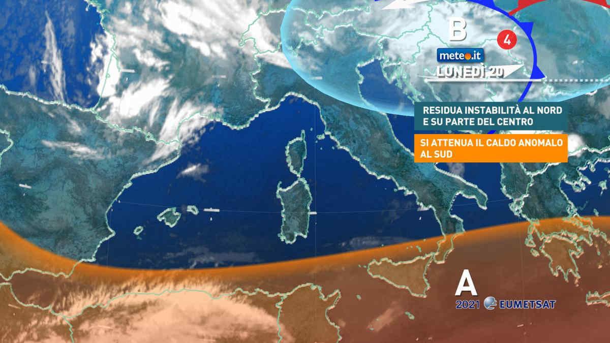 Meteo, 20 settembre con tempo instabile al Nord