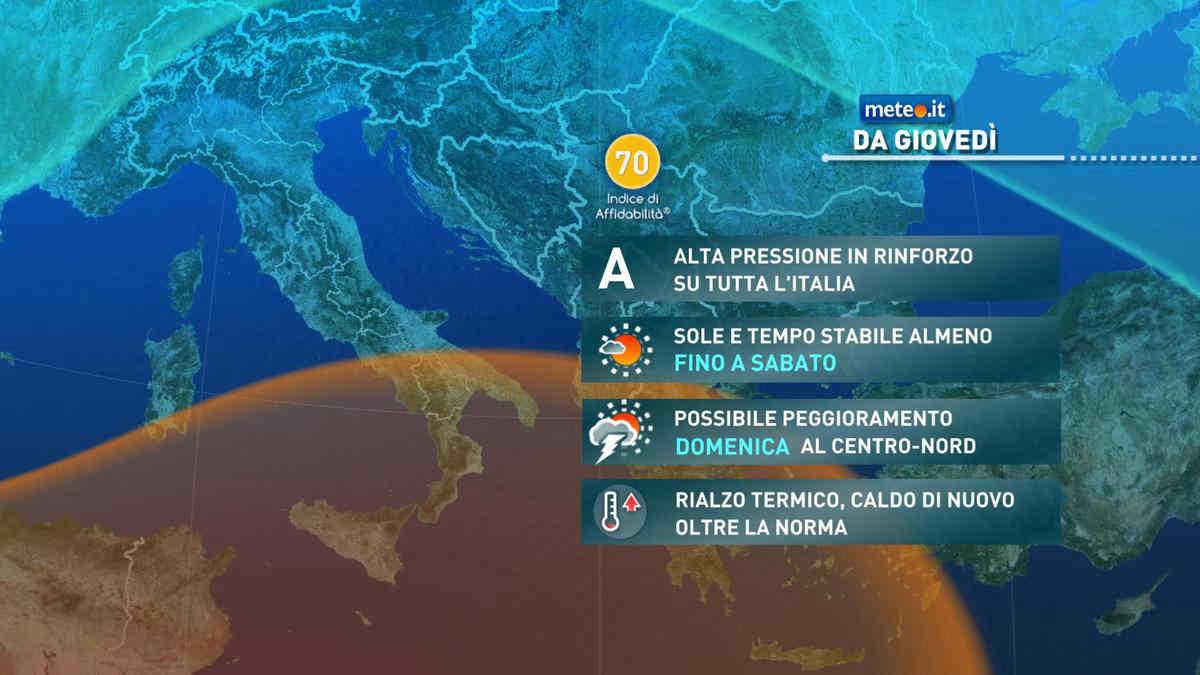Meteo, da giovedì 23 settembre alta pressione in rinforzo