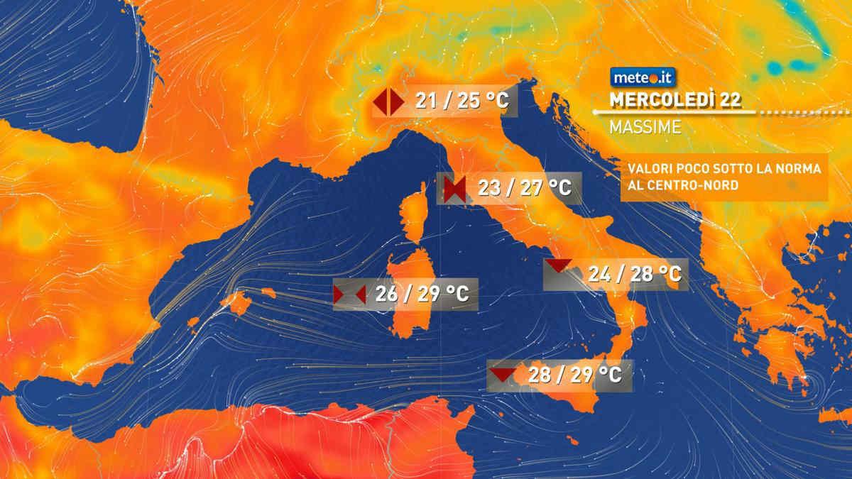 Meteo, mercoledì 22 settembre tempo instabile solo sulle Isole
