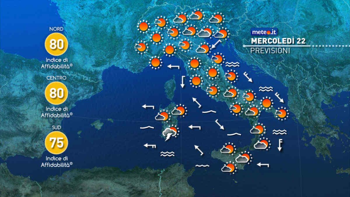 Meteo, oggi mercoledì 22 settembre, tempo stabile su gran parte d'Italia