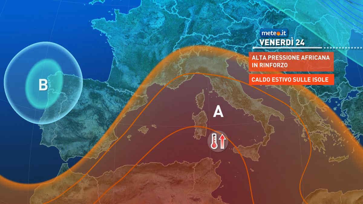 Meteo, 24 settembre con anticiclone in rinforzo: le zone più calde