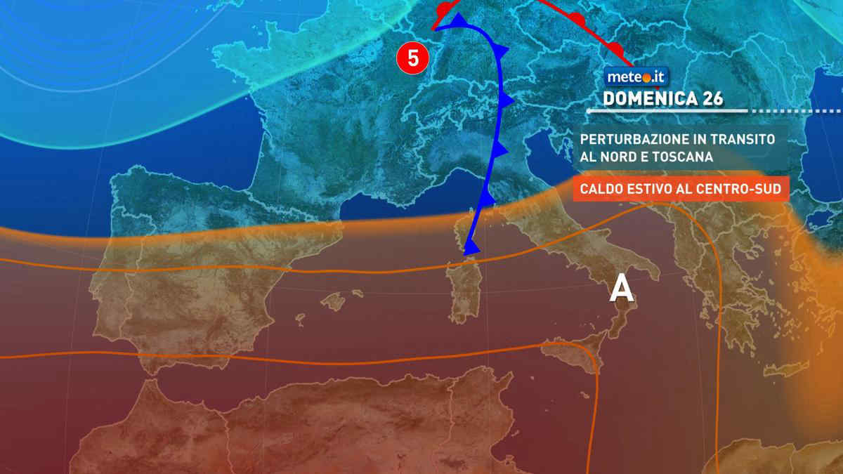 Meteo, domenica 26 piogge a tratti intense al Nord e su parte del Centro