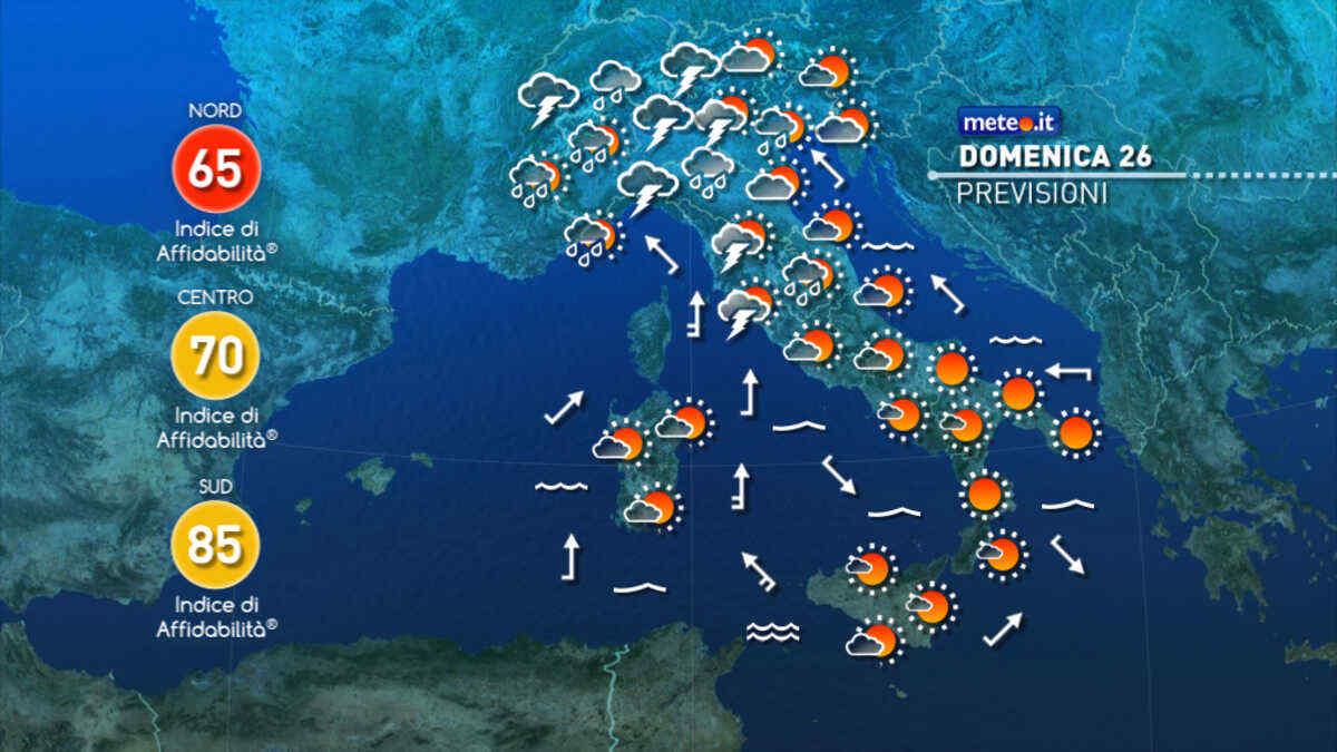 Meteo, domenica 26 perturbazione al Centro-Nord: rischio di fenomeni intensi