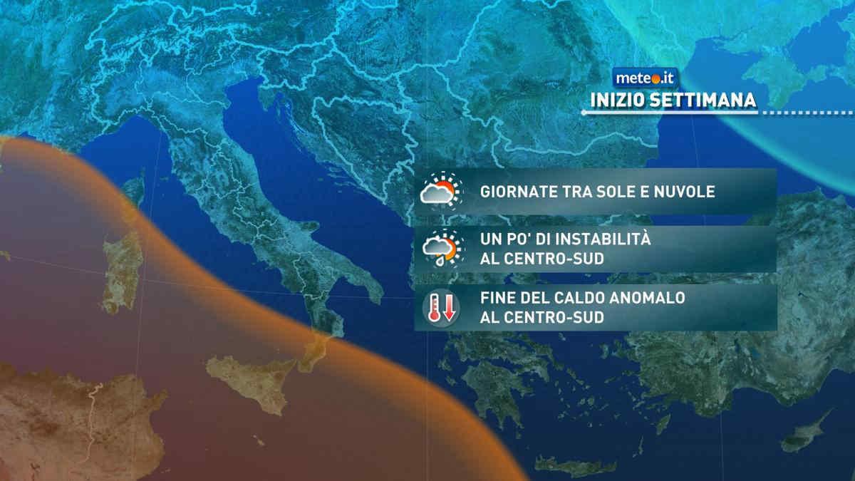 Meteo, da martedì 28 fine del caldo estivo al Centro-Sud