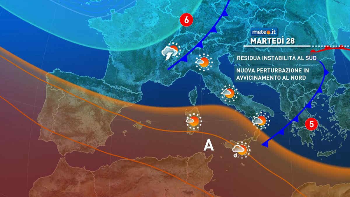 Meteo, 28 settembre con residua instabilità al Sud e calo termico