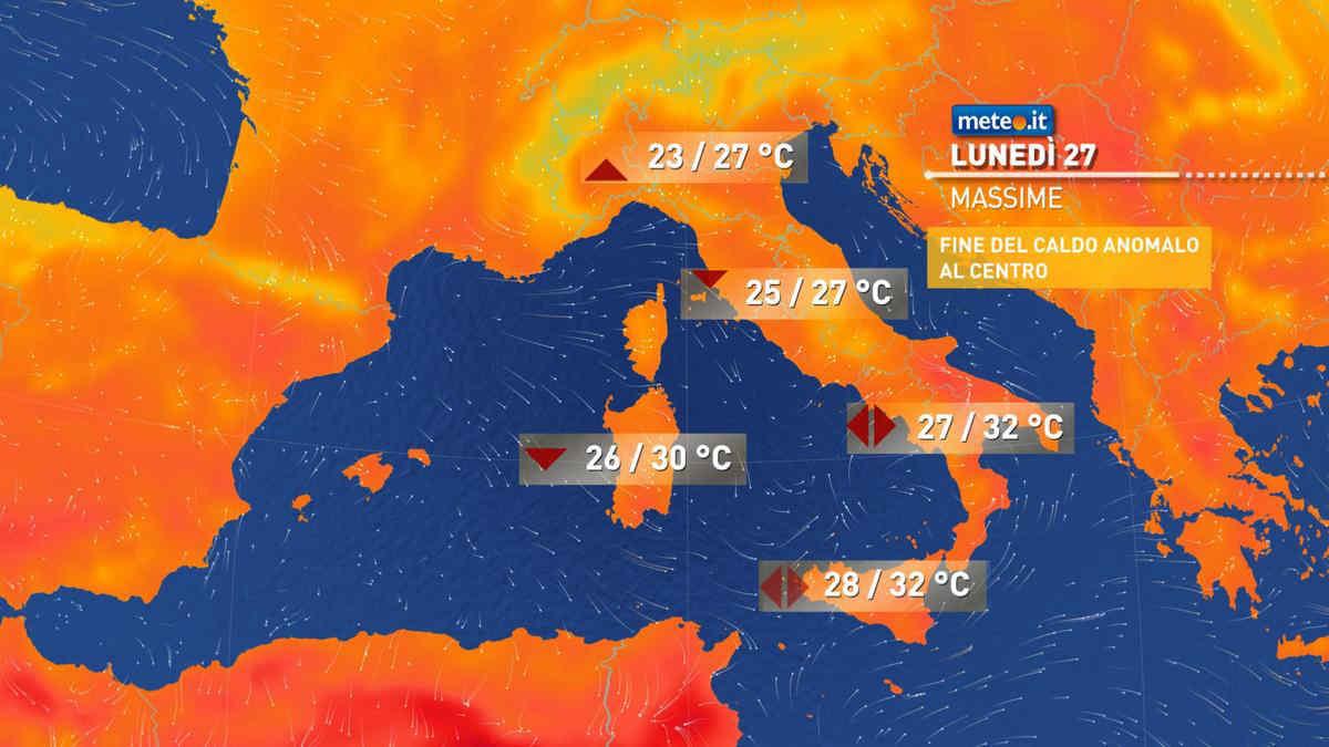 Meteo, tra il 27 e 28 settembre residui temporali e ultime ore di caldo estivo al Sud