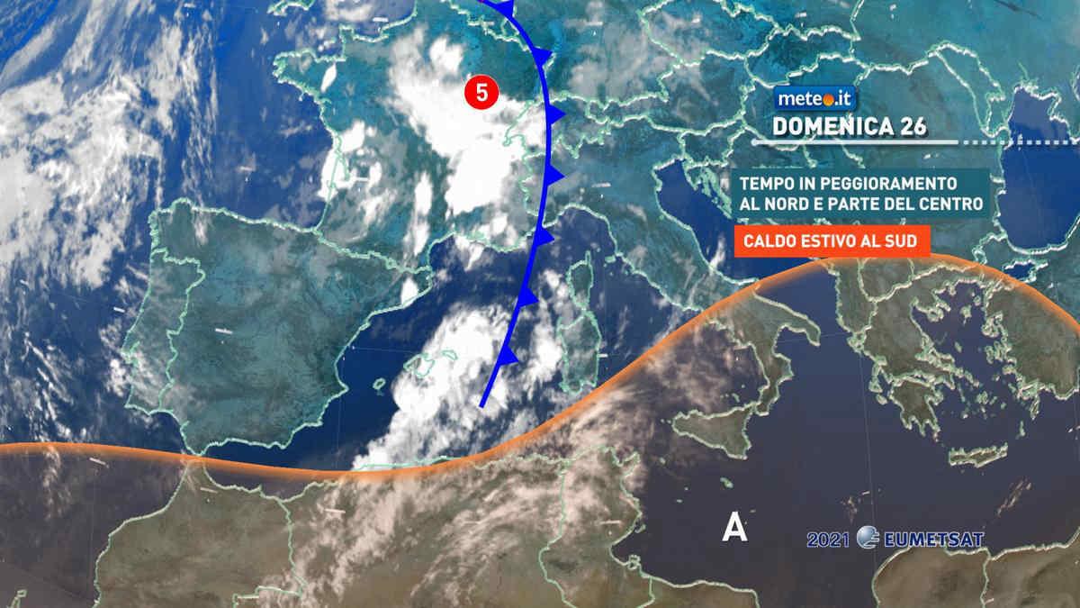 Meteo, domenica 26 di maltempo al Centro-Nord: rischio di piogge forti fra Liguria e Toscana
