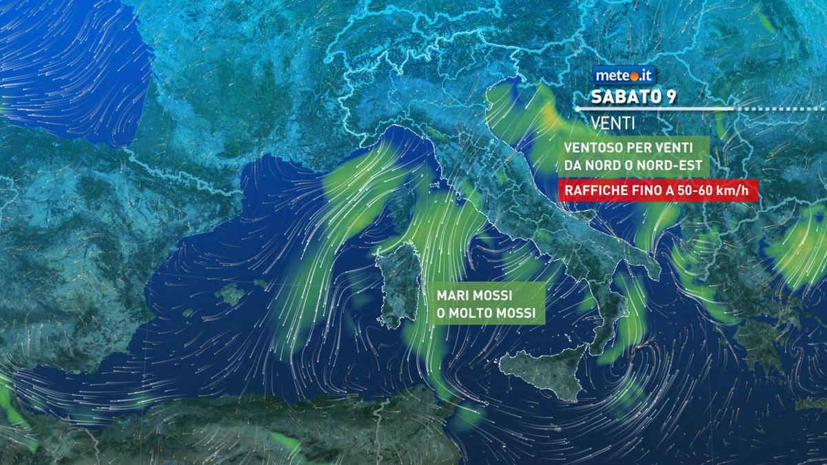 Previsione venti meteo weekend freddo