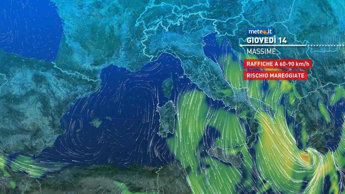 Meteo, oggi giovedì 14 ottobre, freddo e forti venti