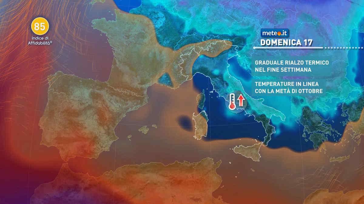 Meteo 17 ottobre: alta pressione in rinforzo, ma al Sud arriva ancora qualche pioggia