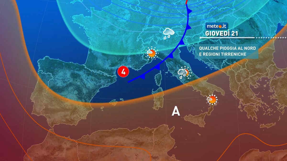 Meteo, giovedì 21 di pioggia al Nord e su parte del Centro