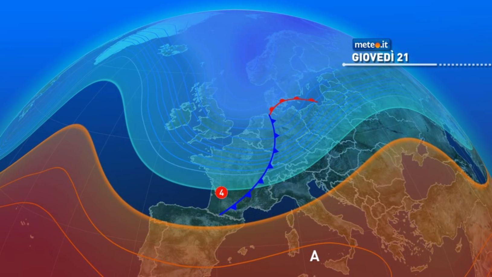 Meteo, da giovedì 21 al via una nuova fase piovosa: primi effetti al Centro-Nord