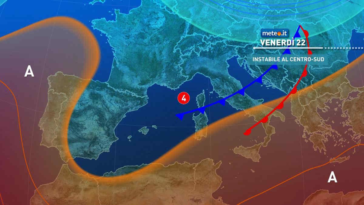 Meteo, venerdì 22 ottobre tempo instabile al Centro-sud