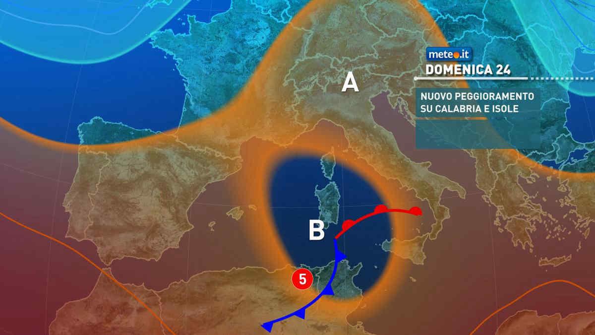 Meteo, dal 24 ottobre fase di forte maltempo su Isole e Sud