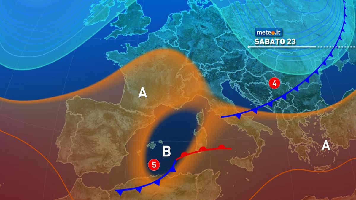 Meteo, 23 ottobre con tempo instabile al Centro-sud