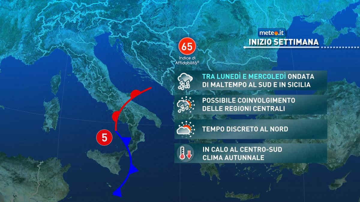 Meteo, fino al 27 ottobre forte maltempo con nubifragi al Sud e Sicilia
