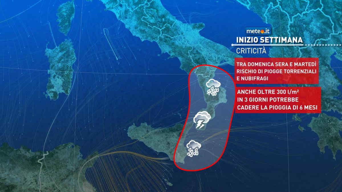 Meteo, domenica 24 ottobre marcato peggioramento nelle Isole e al Sud