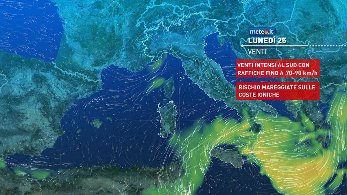 Meteo, oggi lunedì 25 ottobre, piogge torrenziali al Sud
