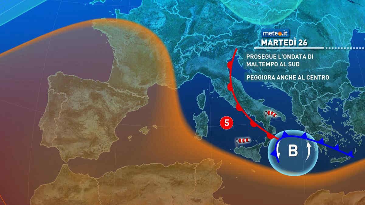 Meteo, 26 ottobre di forte maltempo: piogge insistenti tra Sicilia e Calabria
