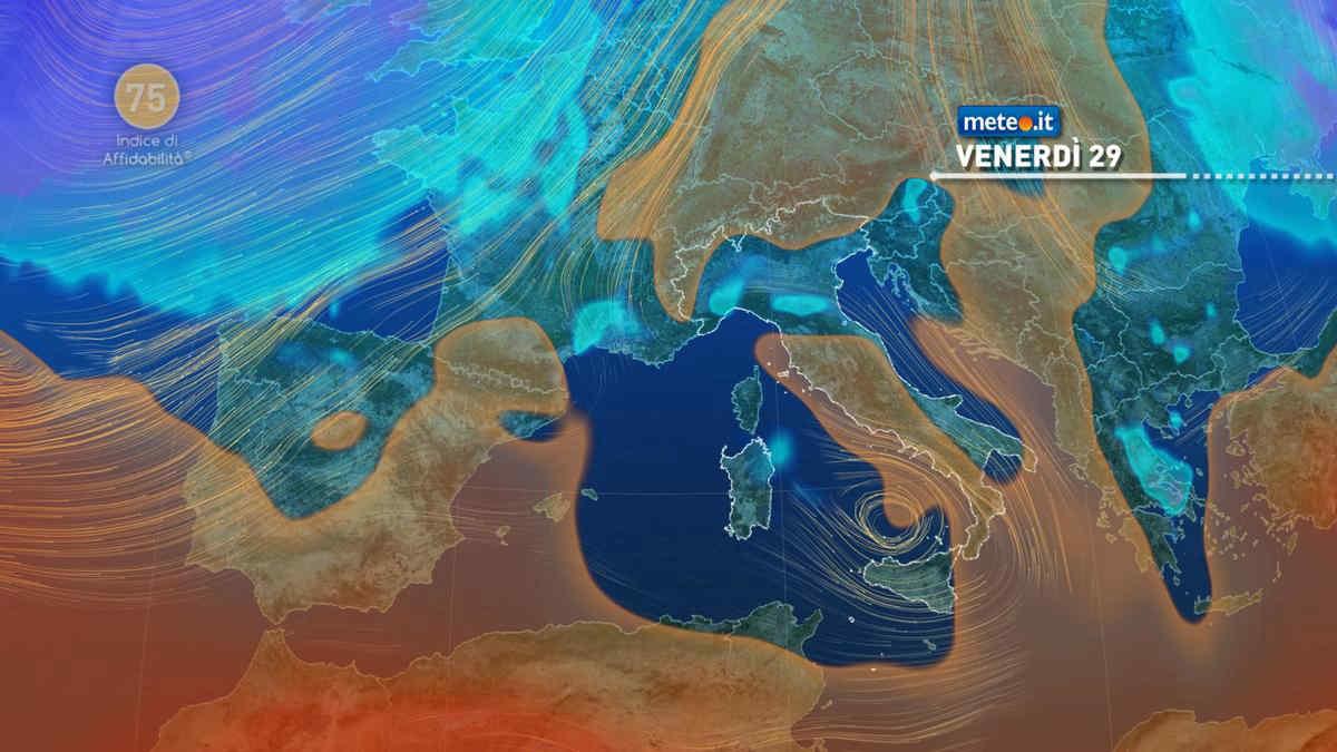 Meteo, venerdì 29 ancora piogge intense tra Calabria e Sicilia