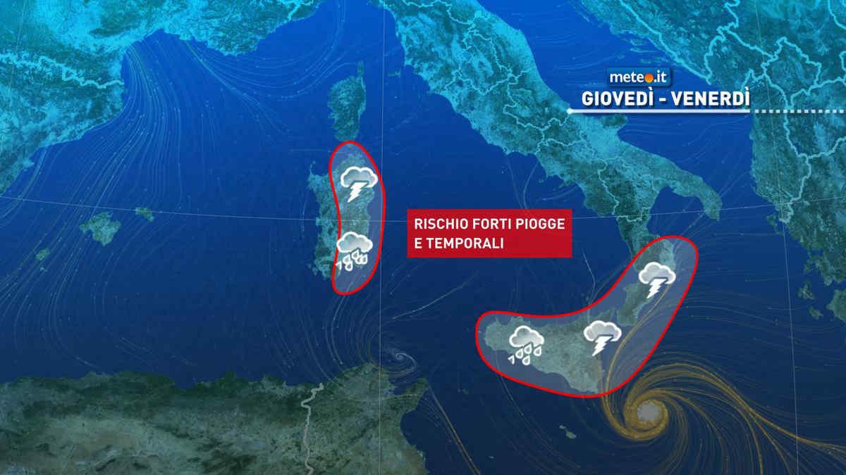 Meteo, 28 ottobre di forte maltempo al Sud e sulle Isole: rischio di nubifragi