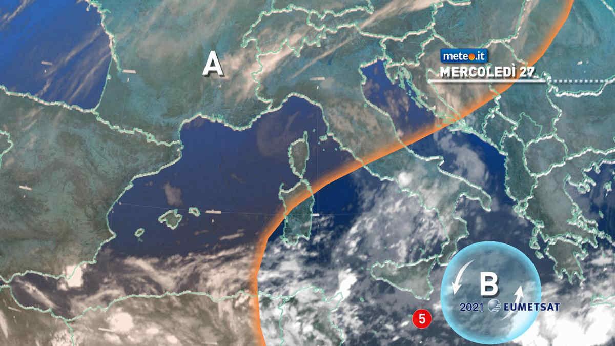 Meteo 27 ottobre: Sud Italia sotto scacco del vortice ciclonico